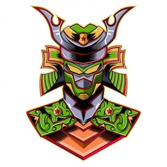 Logotipo de la mascota robot verde samurai