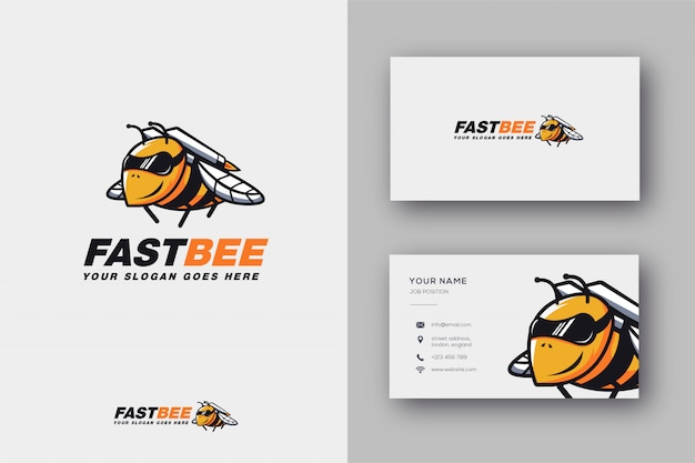 Logotipo de la mascota rocket bee y tarjeta de visita