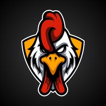 Logotipo de la mascota de rooster head e sport