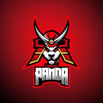 Logotipo de la mascota samurai panda