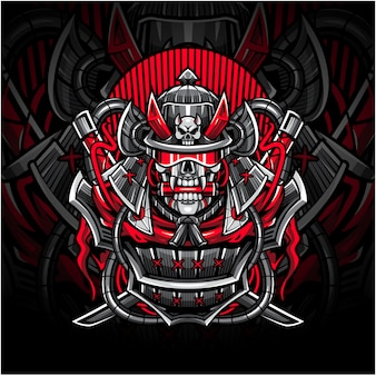 Logotipo de la mascota de samurai skull esport
