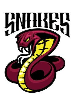 Logotipo de la mascota de la serpiente cobra venenosa