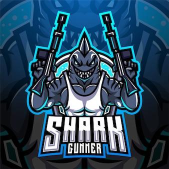 Logotipo de la mascota de shark gunner esport