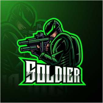 Logotipo de la mascota soldado esport gaming