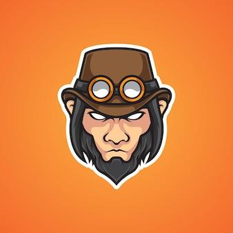 Logotipo de la mascota steampunk head e sport