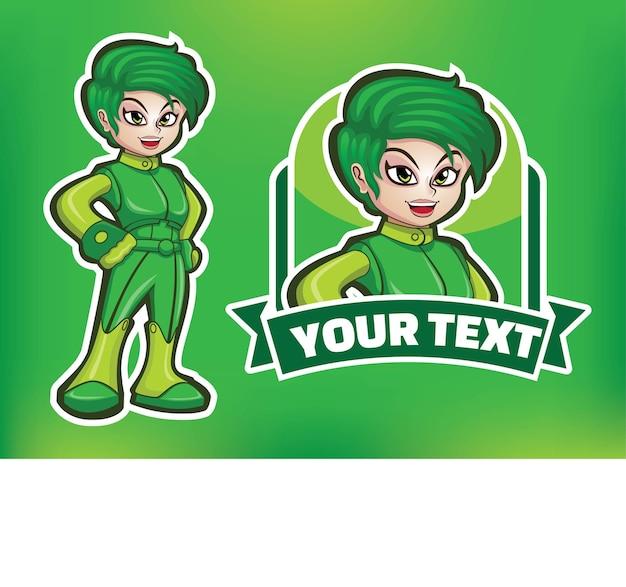 Logotipo de la mascota del superhéroe de la mujer