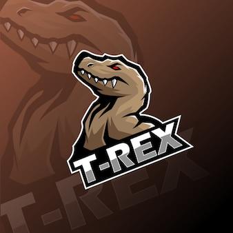 Logotipo de la mascota t-rex esport