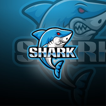 Logotipo de la mascota de tiburón esport