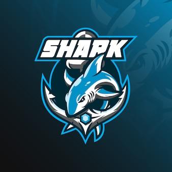 Logotipo de la mascota de tiburón