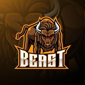 Logotipo de la mascota toro enojado