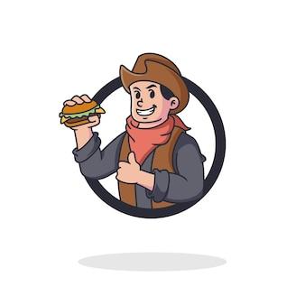 Logotipo de la mascota del vaquero de hamburguesa retro