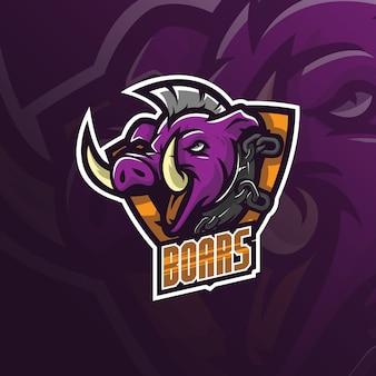 Logotipo de mascota de vector de jabalí