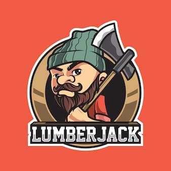 Logotipo de mascota vintage de leñador