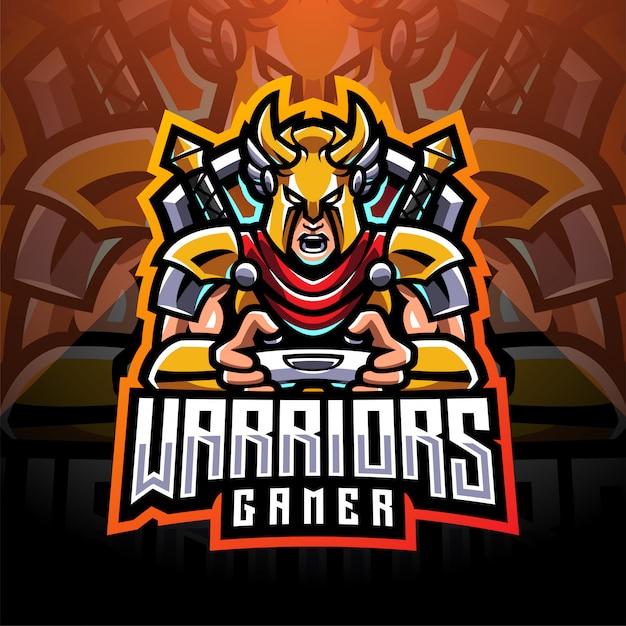 Logotipo de la mascota de warrior gamer esport
