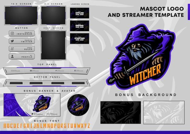 Logotipo de la mascota de witcher y plantilla de superposición de twitch