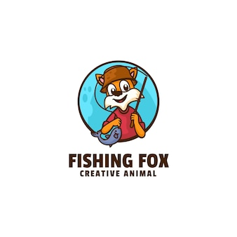 Logotipo de la mascota del zorro de pesca estilo de dibujos animados