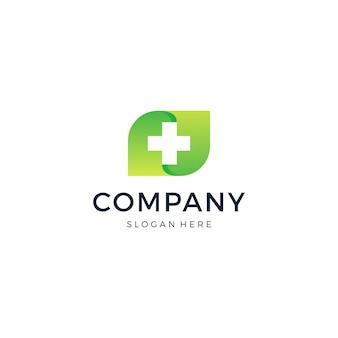 Logotipo de medical cross leaf