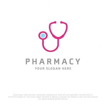 Logotipo médico azul y rosa