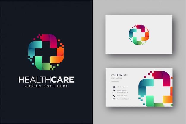 Logotipo médico digital y tarjeta de visita