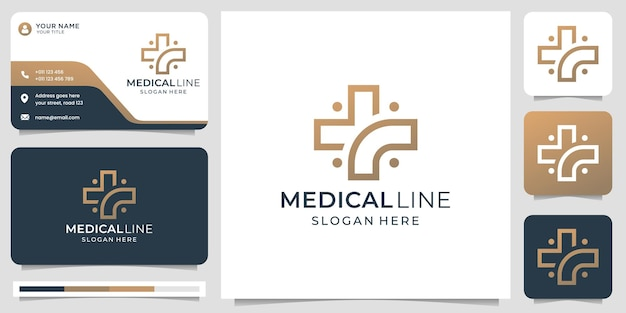 Logotipo médico con estilo de arte de línea moderna creativa y plantilla de diseño de tarjeta de visita
