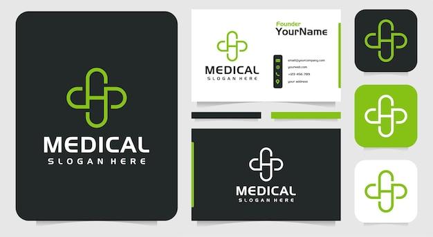 Logotipo médico monograma e inspiración para tarjetas de visita
