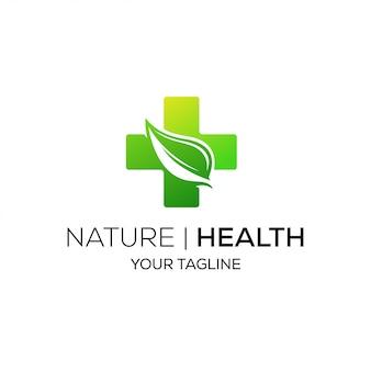 Logotipo médico de salud de hoja verde fresca de naturaleza