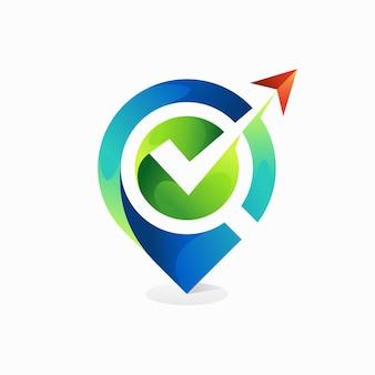 Logotipo de la mejor manera con el concepto de ubicación del pin