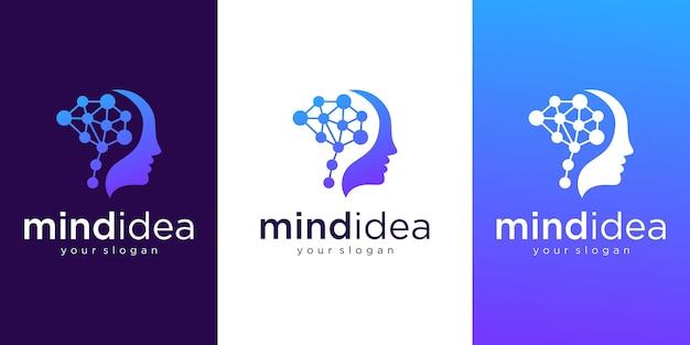 Logotipo de mente y tecnología de cabeza humana