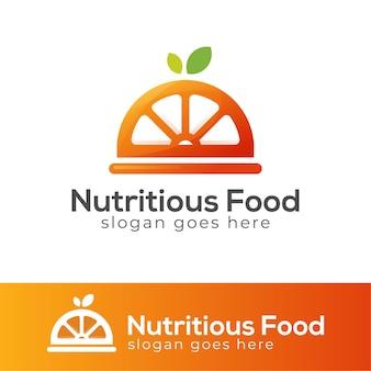 Logotipo de menú de comida nutritiva y saludable.