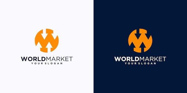 Logotipo del mercado mundial, con la inicial w. para el logotipo de referencia