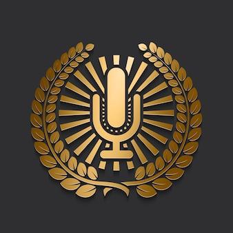 Logotipo de micrófono dorado