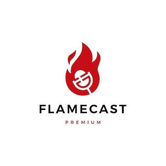 Logotipo de micrófono de podcast de llama de fuego