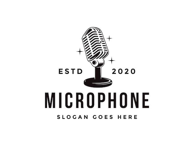 Logotipo de micrófono de soporte antiguo, plantilla de icono de logotipo de podcasting