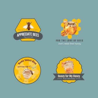 Logotipo con miel para branding y marketing acuarela.