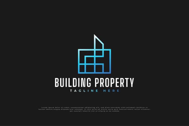 Logotipo minimalista de bienes raíces en degradado azul con estilo de línea. plantilla de diseño de logotipo de construcción, arquitectura o edificio