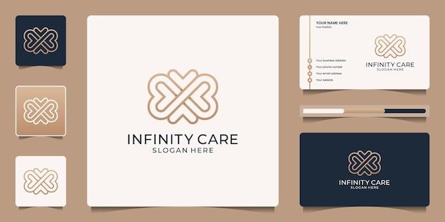 Logotipo minimalista y elegante de infinito amor.