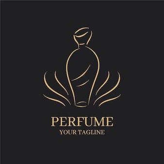 Logotipo minimalista de la empresa comercial de perfumes dorados