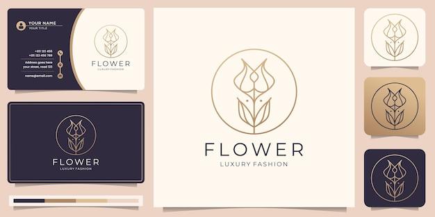 Logotipo minimalista de flor rosa con círculo de marco y tarjeta de visita