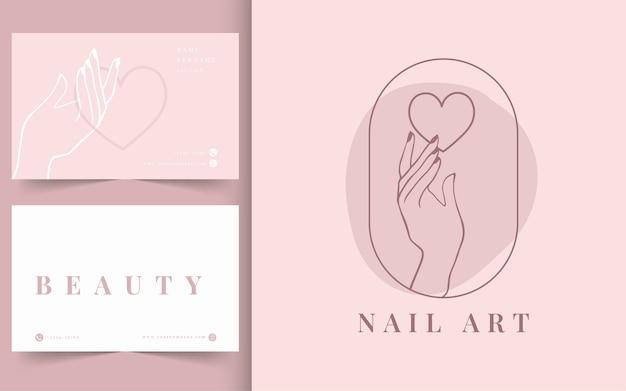 Logotipo de uñas minimalista. plantilla de tarjeta de visita.