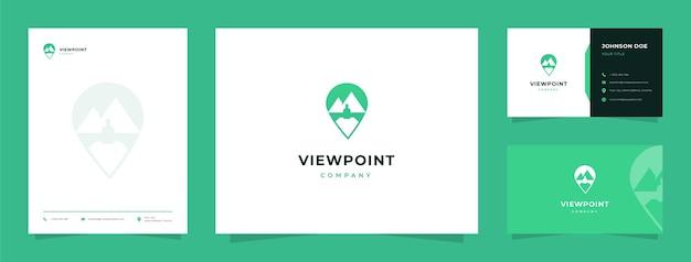 Logotipo de mirador de montaña con tarjeta de visita y membrete