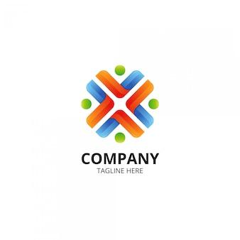 Logotipo moderno y colorido del trabajo en equipo