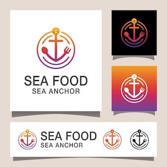 Logotipo moderno de comida de mar