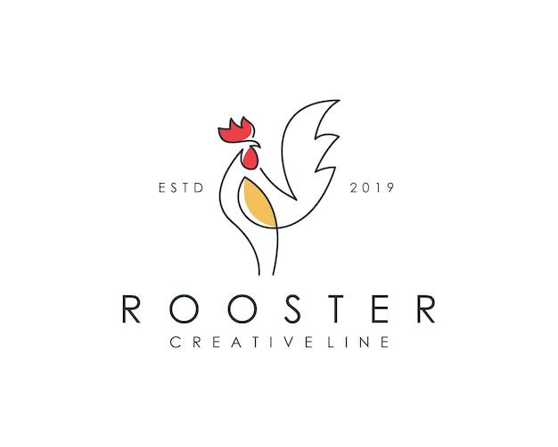 Logotipo moderno del contorno del gallo
