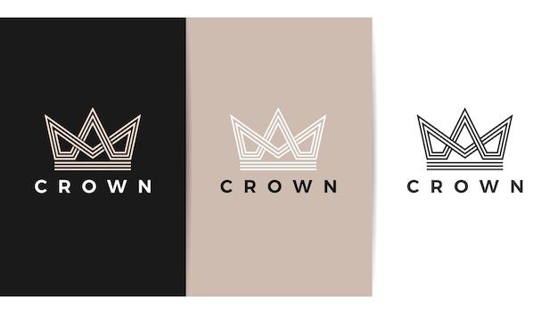 Logotipo moderno de la corona real rey reina logotipo abstracto