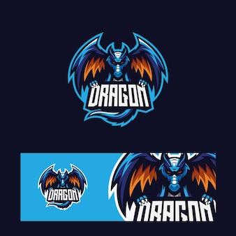 Logotipo moderno del dragón azul del deporte