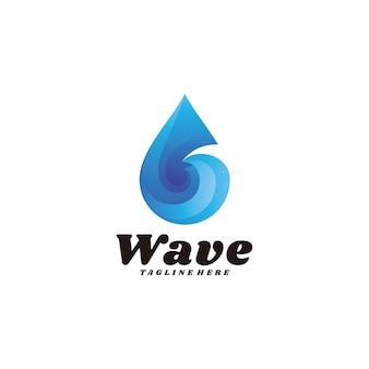 Logotipo moderno de la gotita del agua de la onda del gradiente