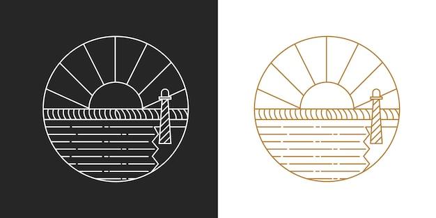 Logotipo moderno de la línea del amanecer
