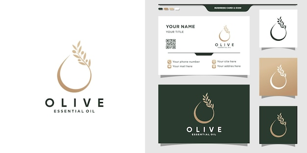Logotipo moderno de olivo y aceite con estilo de arte lineal y diseño de tarjeta de visita vector premium