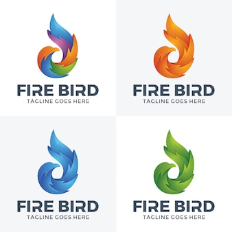 Logotipo moderno del pájaro del fuego con estilo 3d.