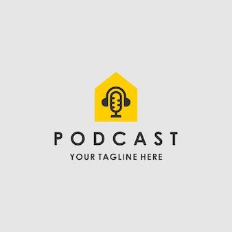 Logotipo moderno de la plantilla de podcast house